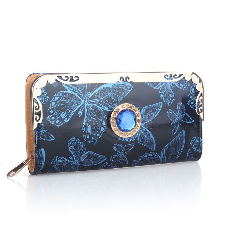 New Fashion PU Leather Women Wallets Long Hasp 5 Colors Cute Diamond Wallet 2 Folds Design Lady Clutches Coin Purse Card Holder(China (Mainland))