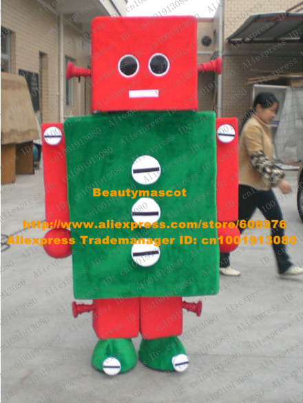 Adorable Red Robot Mascot Costume Mascotte Automaton Adult With Red Square Head Black Round Eyes White Mouth No.8035 Free Ship(China (Mainland))