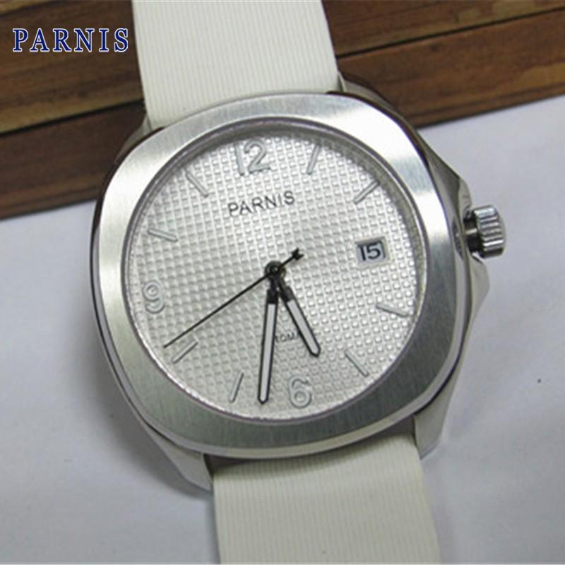 40 мм Парнис Белый Циферблат Из Нержавеющей Стали Автоматические Часы Белый каучуковый ремешок Наручные Часы