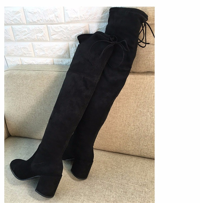 Women Stretch Suede Thigh High Boots Sexy Fashion Over the Knee Boots High Heels Woman Shoes Black Gray Slim Fit Botas Mujer
