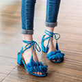 2017 Summer Leather Sandals Women High Heels Fringe Gladiator Sandals Women Lace Up Shoes Ladies Leather