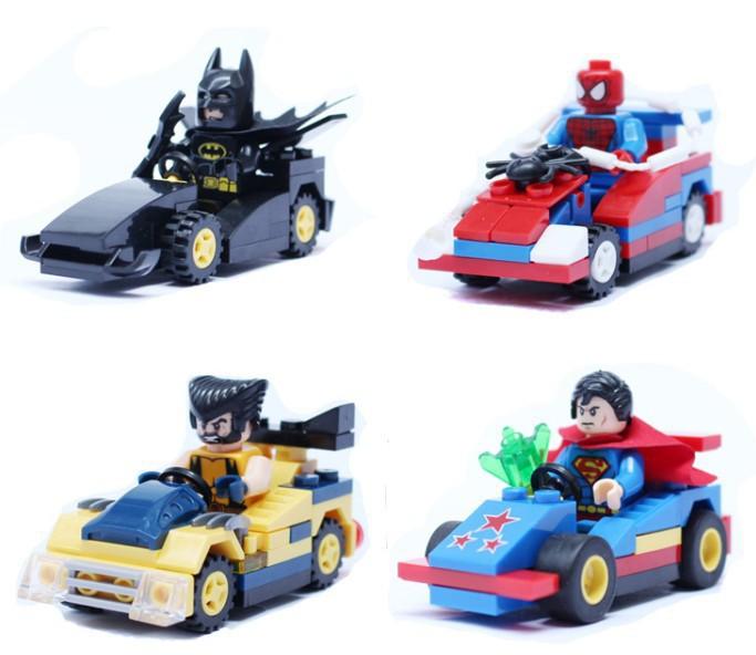 4pcs/set, 5sets/lot SY184A/B/C/D superhero Superman Spiderman Batman Wolverine action racing car toys Building Blocks toys<br>