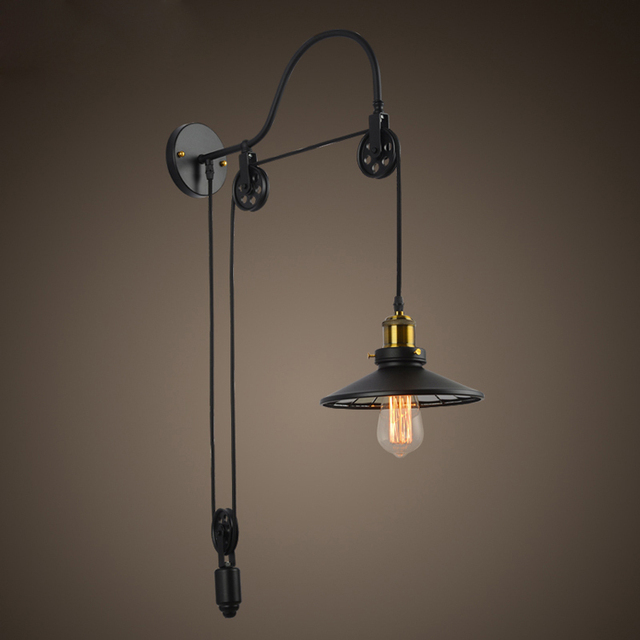 Aliexpress.com : Buy Vintage Industrial Retro Ameican Country Pulley Adjustable Edison Wall ...