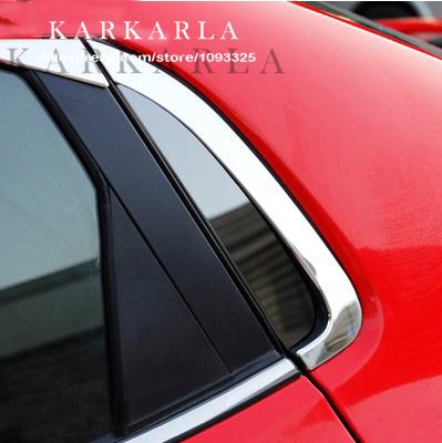 2PCS Mirror Black starnless steel For KIA RIO K2 2011 2012 2013 2014 Rear window Triangle film paster(China (Mainland))