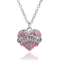 2016 Women  Crystal Rhinestone Necklaces Pink Shape Heart Pendant Necklace Long Sweater Chain Jewelry Accessory Best Friend Gift(China (Mainland))