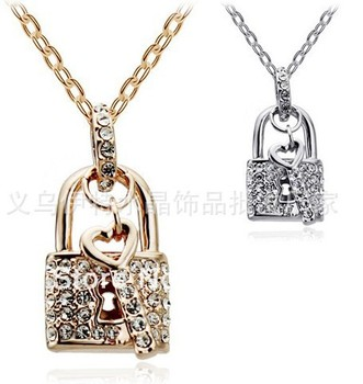 JSN Wholesale Lock Heart 18K Gold Plated Fashion Party Wedding  Pendant Necklace Austrian SWA Element Crystals Jewelry