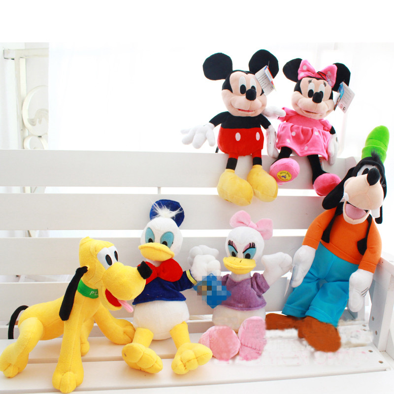 Kawaii Plush Mickey Mouse Minnie Mouse Donald Duck and Daisy Duck Goofy Dog Pluto Dog Plush Toys Soft Stuffed Animals Doll(China (Mainland))