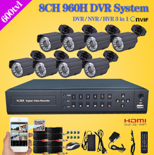 Secuvision accueil 8ch extérieure étanche jour nuit système de caméra de sécurité 8 canaux CCTV AHD 960 H DVR NVR kit de surveillance vidéo(China (Mainland))