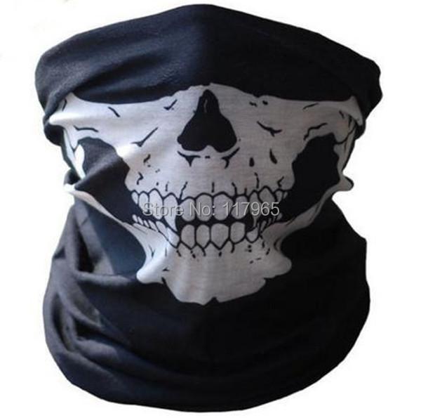 Fashion Black Polyester fiber Skull face Multi Bandana full Face Mask for Halloween's party Gift JE270(China (Mainland))
