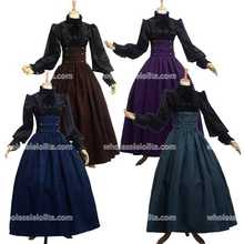 Top Sale Vintage Steampunk Skirt Victorian Gothic High Waist Long Walking Slim Skirt Black/Blue/Brown/Purple Plus Size