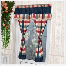 Modern plaid kitchen door curtains curtain set cotton fabric short Home decorative window screen 0063