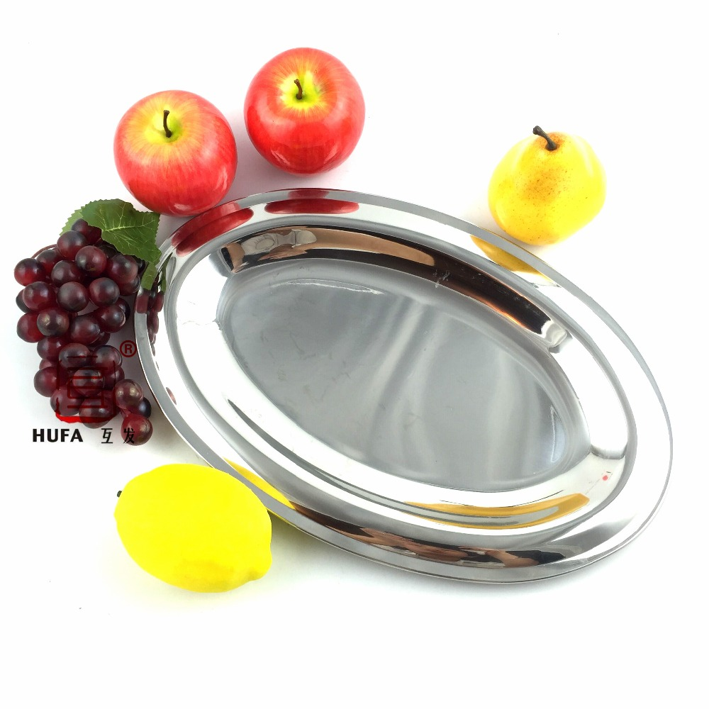 36cm oval stainless steel fish dish/14inch exquisite silver oval tray/delicate big fruit plate/bandejas para servir/serving tray(China (Mainland))