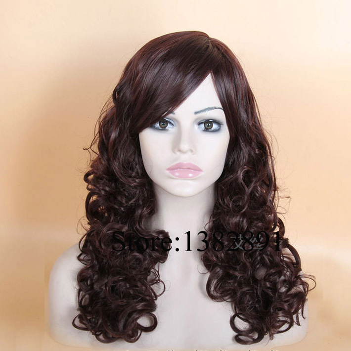 Heat Resistant Kinky Curly Rich Copper Red Mixed 99J Synthetic Curly Wigs With Bangs African American Glueless None Lace Wig