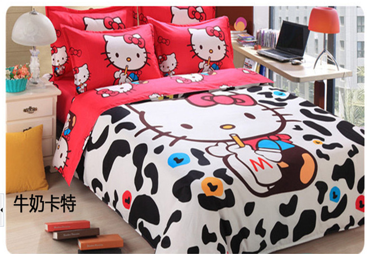 12 designs hello kitty bedding set queen size 4pc bedclothes kids/children comforter cover duvet cover bed set(China (Mainland))