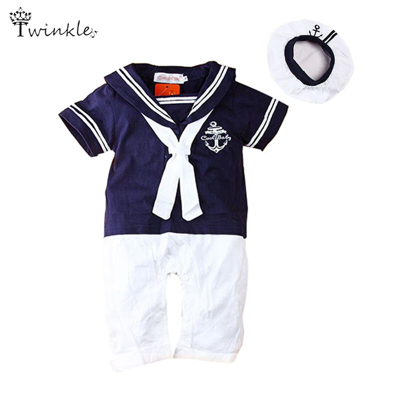 Baby clothing Summer baby sailor suit Romper 2 pcs kids boys girls rompers+hat body summer short-sleeve newborn clothing unisex(China (Mainland))