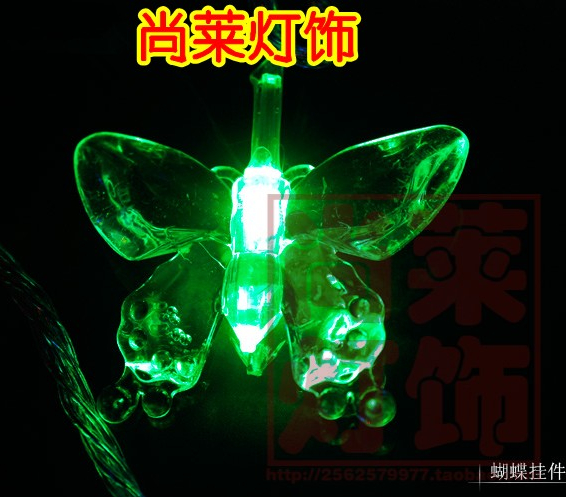 10 meters 100 lamp led butterfly lamp lantern flasher lamp set holiday lights indoor outdoor lantern lighting string landscape(China (Mainland))