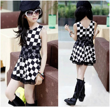Girls New Summer Children Chequered Camisole Fashion cotton dresses for baby girls Dress bb1039