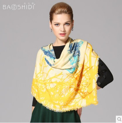 women's winter wool scarf 2014 brand fashion desigual printed yellow large square 100% wool shawls scarves cashmere 130*130cm(China (Mainland))
