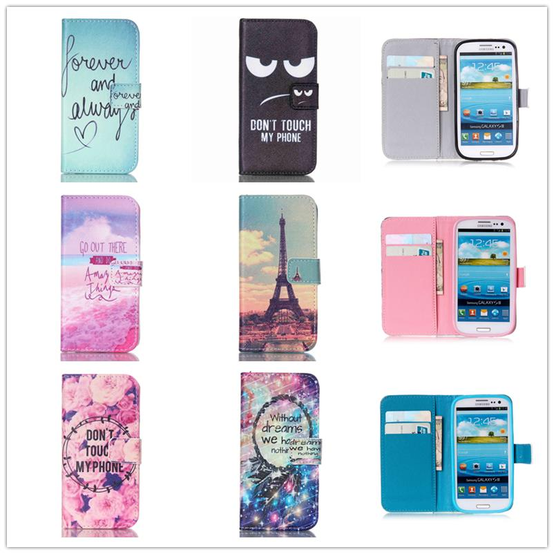 Stand Style Magnet Flip Wallet Cover Leather Cartoon Paiting Pattern Soft Case For Samsung Galaxy S3 GT-i9300 Neo DUOS i9300i(China (Mainland))