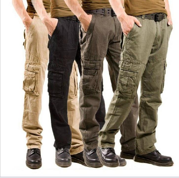 long khaki cargo pants - Pi Pants