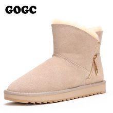 GOGC 100% de lana de cuero genuino botas de Invierno para mujer botas de invierno cálidas con piel para damas diseño botines de mujer G9838(China)