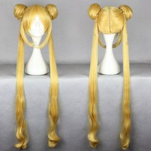 MCOSER Hot Sell High Quality Heat Resistant 100cm Cute Golden Curly Wavy Women Cosplay Sailor Moon Wig +Long Pigtails(China (Mainland))