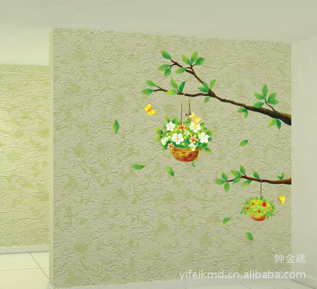Hot Sale New Environmental Protection Beautiful Flowers Branches Wall Paper Pvc Home Decor