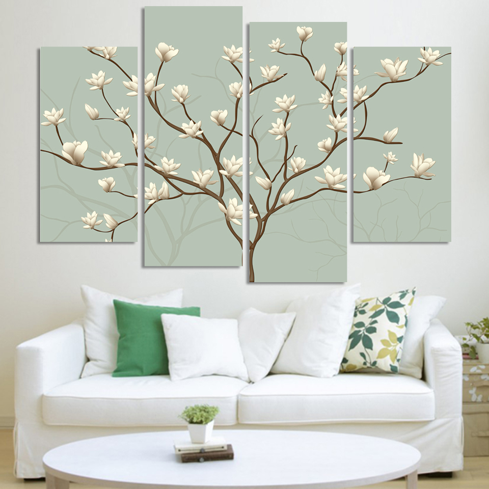 Bedroom wall art trees - 4 Panels Canvas White Flower Tree Painting On Canvas Wall Art Picture Home Decor Fou156