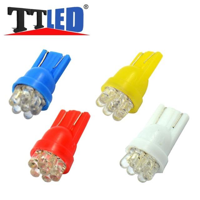 100 X T10 194 168 W5W 7 LED 12V 7led Wedge side marker dashboard License plate bulb 12V white red blue yellow #TB25