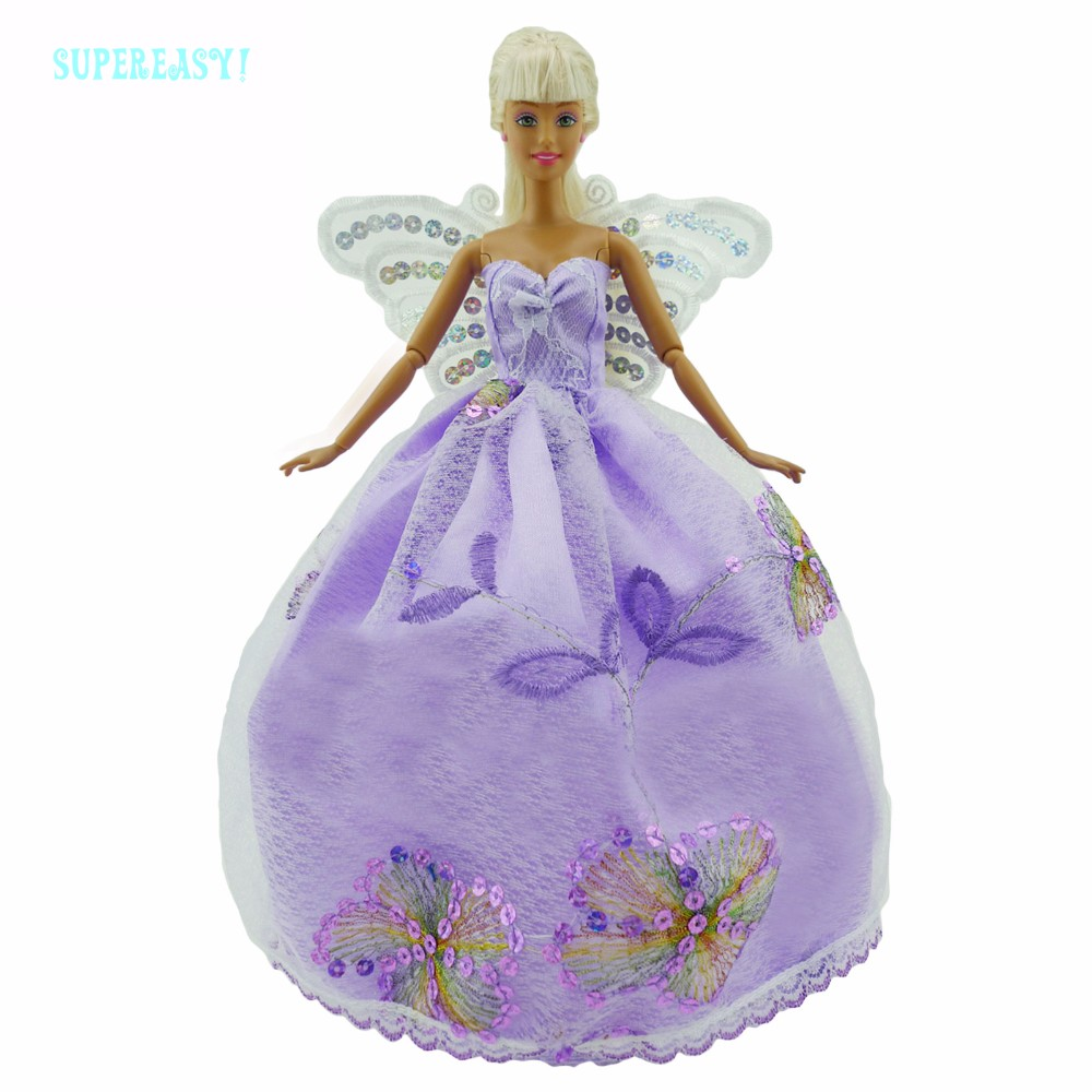 Fairy Story Princess Costume With Butterfly Wings Strapless Purple Robe Bridal Veil Equipment For Barbie Doll Garments Child Toys