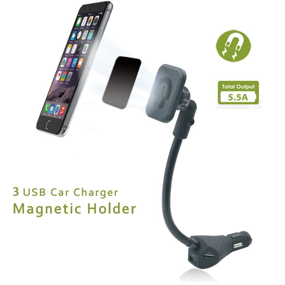 eugizmo magnetic car phone holder with 3 ports usb charger. Black Bedroom Furniture Sets. Home Design Ideas