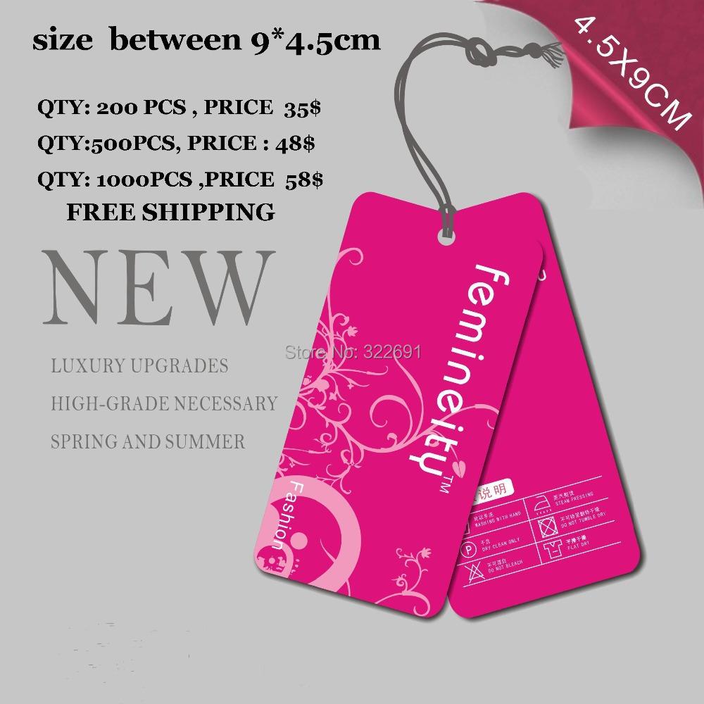 Free Shipping Custom hang tags printed personal logo for clothing free design(China (Mainland))
