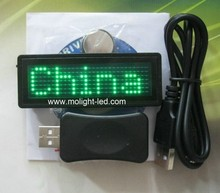 Green Scrolling Marquee LED Name Badge With USB Cable & Software | Programmable LED Name Tag(China (Mainland))