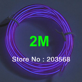D19+Free Shipping 4Pcs/Lot 2M Flexible Neon Light Glow EL Wire Rope Strip Car Party 4 Different Colors to Choose