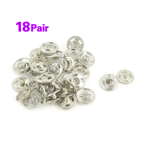 Good Deal ! Silver Tone Metal 12mm Sewing Metal Fastener Press Studs Buttons 18 Pcs(China (Mainland))