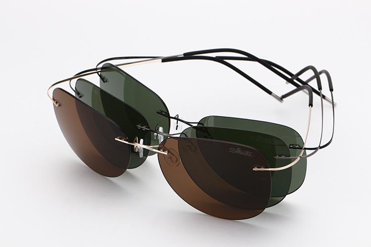 2015 New Brand Designer Aviator Eye Glasses Ultra Light Titanium Rimless Gafas Men Polarized Sunglasses