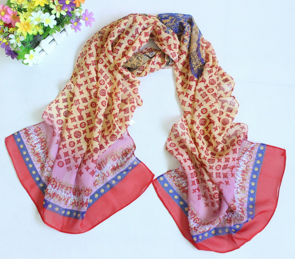 2015 summer style classical designer scarf women letter scarf print scarf female shawls and scarves Chiffon echarpe(China (Mainland))