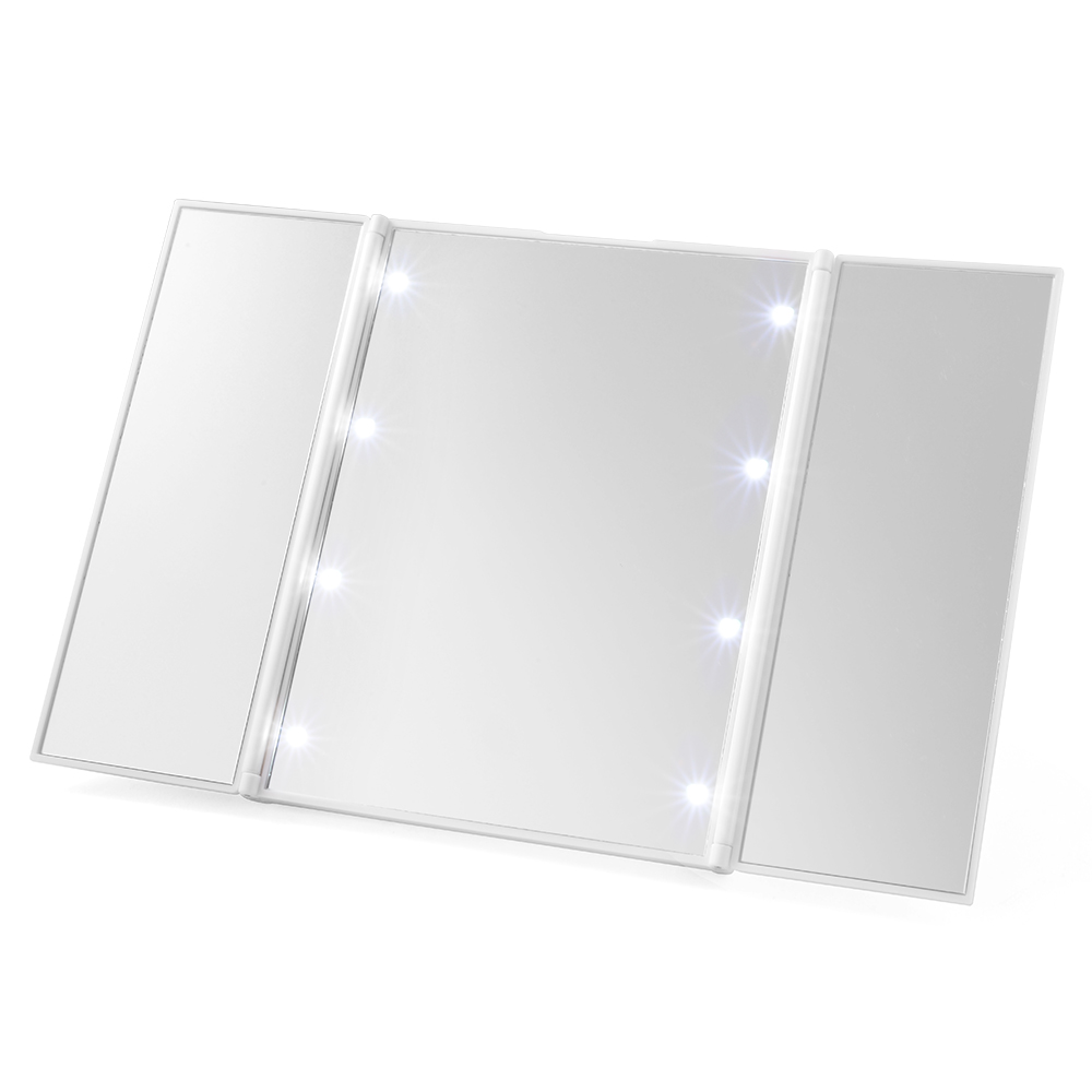 XCSOURCE Portable Tri-Fold 8 LED Lighted Travel Mirror Compact for Cosmetic Makeup (White) MT295(China (Mainland))