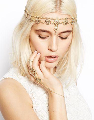 Vintage Gold Head Chain Headband Hair band Hair Jewelry Flower Pearl Tassel Forehead Headpiece Hair Chains For Women(China (Mainland))