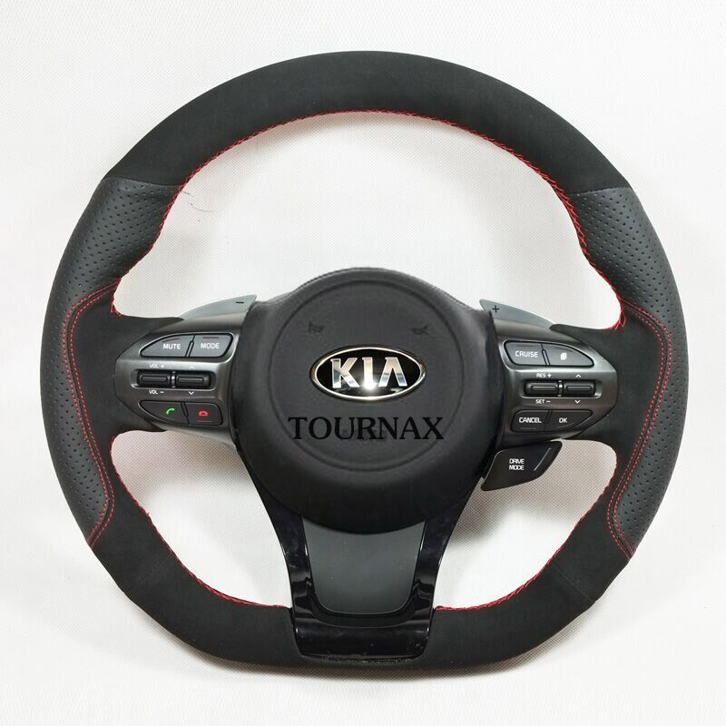 TOURNAX HOT SALE 2011 2012 2014 kia K5 Hand stitched leather steering wheel covers Import small head layer cowhide(China (Mainland))