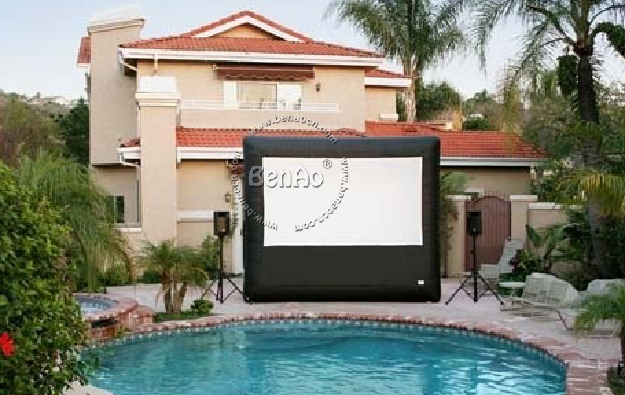 M004 Free shipping 6x3m giant inflatable movie screen inflatable projection movie screen with blower(China (Mainland))