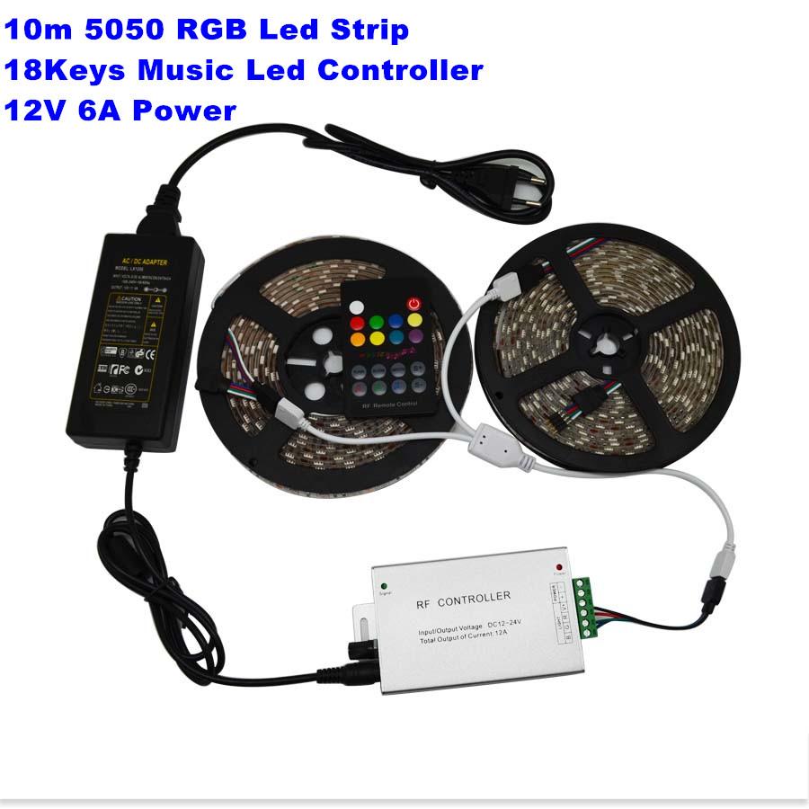 10m 60led/m DC12V Waterproof RGB Led Strip 5050 SMD Flexible Light +18Keys Music Controller+ 12V 6A Power Adapter(China (Mainland))