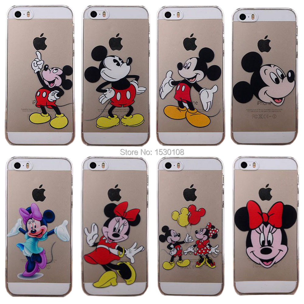 Fashion Cartoon Patterns Clear Phone Case for iPhone 5 5S 5C Mickey Minnie Mouse Transparent Hard Cover Shell EC575 EC576(China (Mainland))
