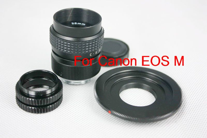 Black C Mount 25mm F/1.4 CCTV 1/2 camera Lens for Canon EOS M + C to EOS M +2 Macro Rings A<br><br>Aliexpress