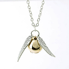 Harry Potter Necklace New Fashion Male Necklace Jewelry Popular Drop Jewelry Angel Wing Charm Golden Snitch Pendent Necklace