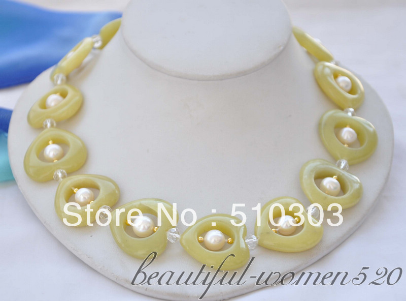 white round pearl haret yellow jade crystal bead necklace 18inchs(China (Mainland))