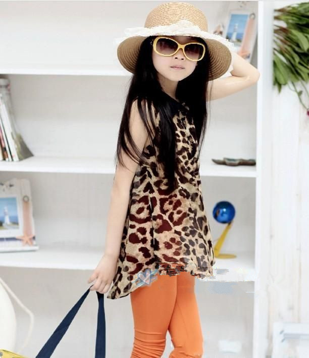Girls leopard shirt blouse children's clothing leopard print lapel long style of sleeveless shirt of the girls freeship baby kid