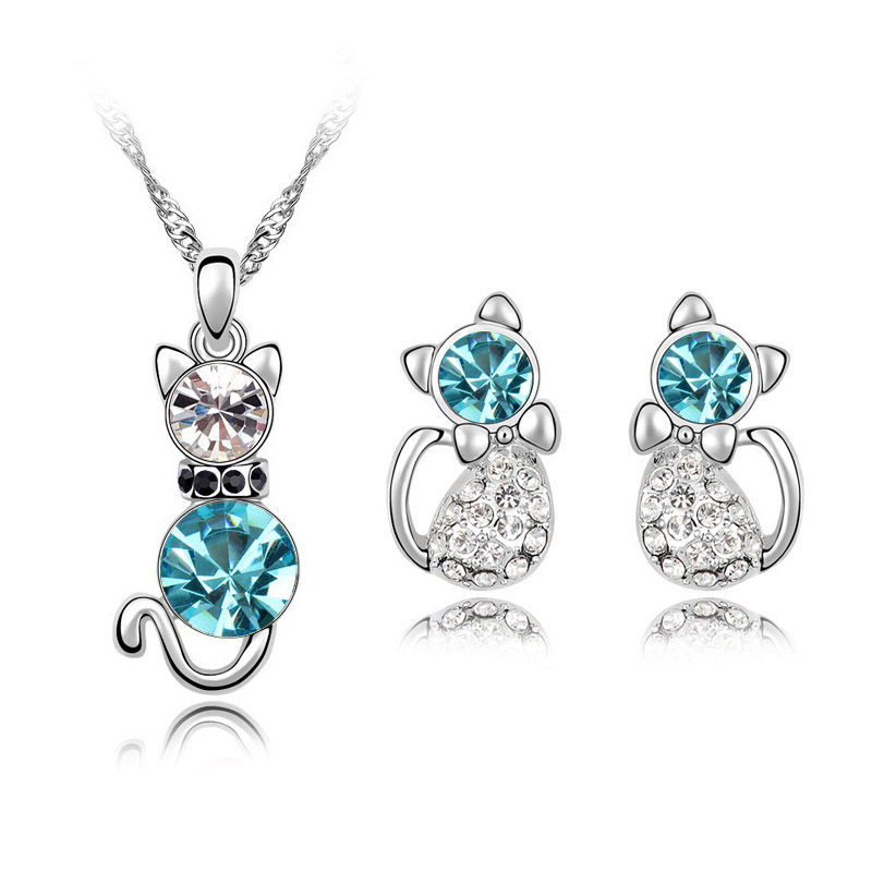 Fashion gold plated Austrian Crystal cute catty cat necklace earrings jewelry sets wedding accessories valentine's day 80059(China (Mainland))