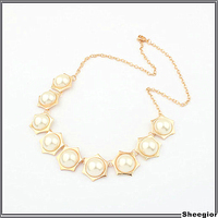 Sheegior Temperament Sweety Fashion Bijoux Jade white pearl gold plated star of David women chokers necklaces Free shipping