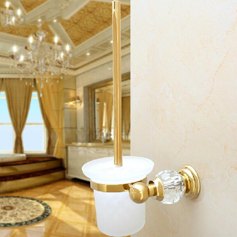 Bathroom accessories brass crystal gold titanium toilet for Gold toilet accessories